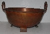 "MBA #3232'-0144   ""Large Vintage Copper Bowl With Handles & Feet"""