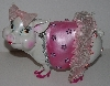 "MBA #3131-0151  ""Fancy Pink & White Plastic Piggy Bank"""