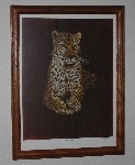 "MBA #3232-257   ""1980's M. Brice Framed Leopard Print"""