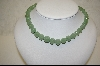 """SOLD""  Green Jade Hand Carved Bead Necklace W/ Matching Pierced Earrings"