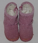 "MBA #3131-261   ""Little Girls Pink Suede Zip Up Boots"""