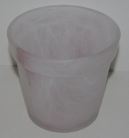 "MBA #3232-0104  ""Pink Art Glass Flower Pot"""