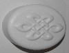 "MBA #3333-487   ""Set Of 2 White Plastic 4 Part Celtic Knot Oval Soap Molds"""