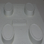 "MBA #3333-605   ""Soap Saloon Set Of 3 White Plastic 4 Part Oval Soap Molds"""