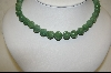 **  Green Jade Hand Carved Bead Necklace
