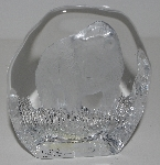 "MBA #3333-257    ""Nybro Sweden Ice Crystal Grizzly Bear Art Glass Paperweight"""
