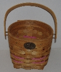 "MBA #3333-205    ""Small Peterboro Basket With Pink Leather Accents & Pink Gingham Liner"""