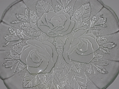 "MBA #3333-0012  ""1980's Set Of 3  Pasari Glass Liva Rose Embossed Plates"""