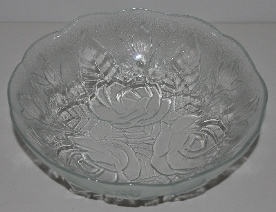 "MBA #3333-0006   ""1980's Set Of 5  Pasari Glass Liva Rose Embossed  Soup Bowls"""