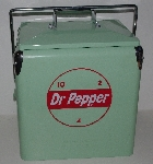 "MBA #3434-351   ""Retro Products Green With Red Lettering Doctor Pepper All Steel 6-Pack Cooler"""