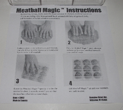 "+MBA #3333-0096  ""1998 Magic Meatball Maker & Cook Book"""