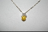 **Charles Winston Golden Glass Pearl & CZ Necklace W/ Matching Pierced Earrings