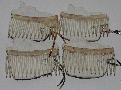 "MBA #3434-0093  ""1980's Set Of 4 Horse head Hand Beaded Hair Combs"""