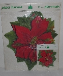 "MBA #3434-652  "" 1990's Paper Harvest 24 Piece Red Poinsettia Place Mat & Coaster Set"""