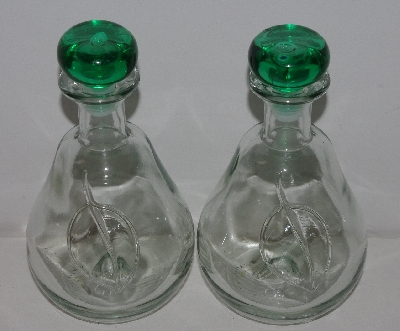 "MBA #3535-1074   ""Set 2 Clear Glass Pear Shaped Decanter Bottles With Stoppers"""