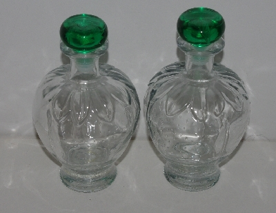 "MBA #3535-1084  ""1990's Set Of 2 Clear Glass Strawberry Shaped & Embossed Decantor Bottles With Green Stoppers"""