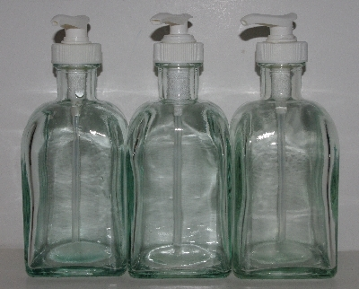 "MBA #3535-1089   ""2003 Set Of 3 Riekes Spanish Green Glass Square Dispenser Bottles With Pump"""
