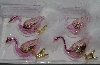 """SOLD""  MBA #3535-1097  ""Kurt S, Adler Santa""s World Set Of 10 Hand Blown Glass Pink Flamingo Clip On Ornaments"""