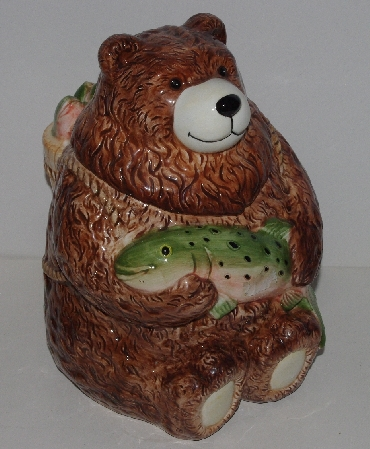 "+MBA #3535-1013  ""Ceramic Bear & Trout Cookie Jar"""