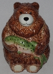 "MBA #3535-1013  ""Ceramic Bear & Trout Cookie Jar"""