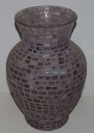 "MBA #3535-980   ""Hand Done Rose Quartz Colored Glass Mosiac Vase"""