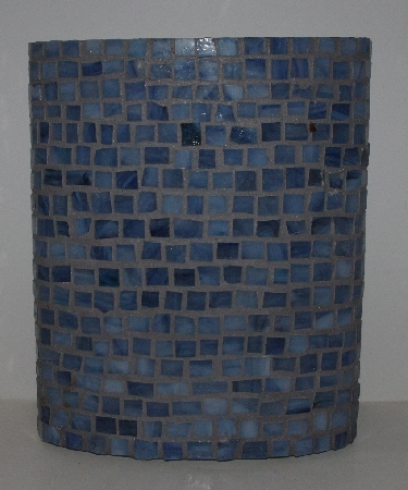 "MBA #3535-988   ""Hand Made Blue Glass Mosiac Vase"""