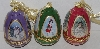 "MBA #3535-620    ""Set Of 3 Porcelain Christmas Themed Egg Ornaments"""