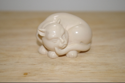 1986 Ivory Hand Carved Cat From The Franklint Mint Collection