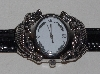 "MBA #3636-0007   ""2003 Barry Cord Double Sterling Silver Alligator   Watch With Black Leather Strap"""