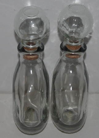 "MBA #3535-0067  ""1990's Set Of 2 Clear Glass Decanters"""