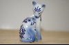 "+MBA #4-069  ""1986 Blue & White Franklin  Mint Delft  Porcelin Cat"
