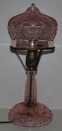 "MBA #3737-0085  ""Vintage Press Pink Glass Lamp"""