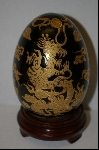 """ SOLD""  Large Elegant Black Ceramic & Gold Dragon Egg"