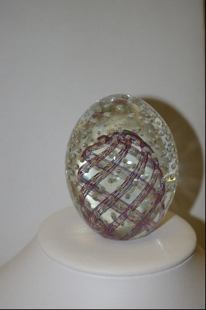 +MBA #9-130  Italian Made Murano Glass Egg Shapped Paper Weight