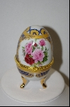 **MBA #9-233  Pink Roses Egg Shapped Trinket Box With Candle Inside
