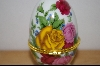 "**MBA #9-242  ""Multi Colored Roses Egg Shapped Trinket Box With A Candle Inside"