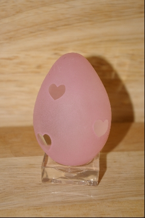 "+MBA #9-145  ""Hearts"" 1980's  Pink Cameo Glass Egg"