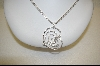 "**Charles Winston Clear Cz Large Heart Pendant With 18"" 3 Strand Chain"
