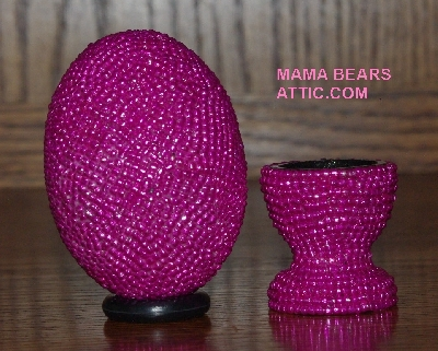 "MBA #4242-1507   ""Dark Metallic Pink Glass Beaded Egg With Matching Egg Cup"""