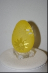 **Yellow Floral Cameo Glass Egg