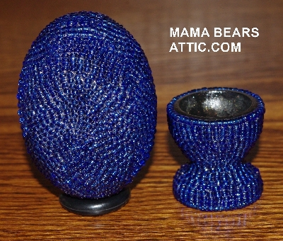 "MBA #4242-1515-  ""Dark Blue Glass Seed Bead Egg With Matching Egg Cup"""