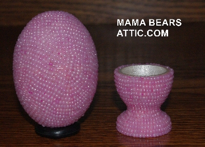 "mba #4242-1536  ""Pearl Pink Glass Seed Bead Egg With Matching Egg Cup"""