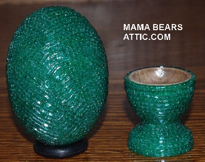 "MBA #4242-1542  ""2 Cut Green Glass Seed Bead Egg With Matching Egg Cup"""