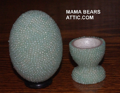 "MBA #4242-1554  ""Pearl Mint Green Glass Bead Egg With Matching Egg Cup"""
