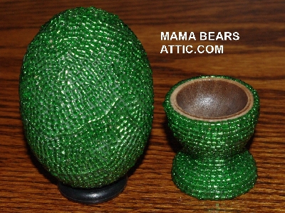 "MBA #4242-1559  ""Silver Lined Green Glass Seed Bead Egg With Matching Egg Cup"""