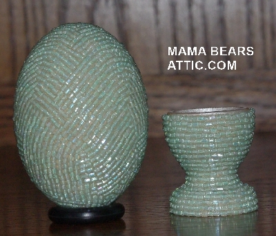 "MBA #4242-1560  ""2 Cut Mint Green Glass Bead Egg With Matching Egg Cup"""