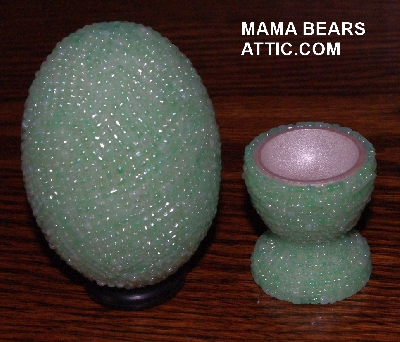 "MBA #4242-1576  ""Pearl Mint Green Glass Seed Bead Egg With Matching Egg Cup"""