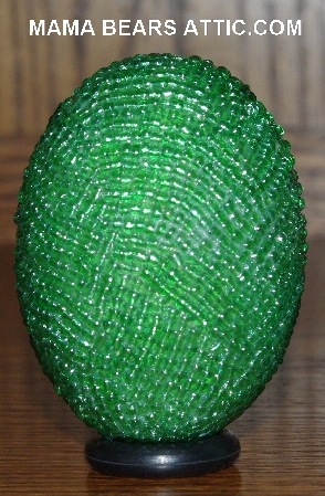 "MBA #4242-1596  ""Luster Green Glass Bead Egg & Matching Egg Cup"""