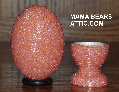 "MBA #4242-1600  ""2 Cut Orange Glass Seed Bead Egg & Matching Egg Cup"""