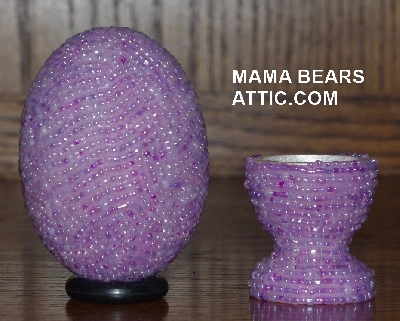 "MBA #4242-1605  ""Lavender Pearl Glass Seed Bead Egg & Matching Egg Cup"""